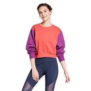 JoyLab Color Block Cropped Sweatshirt